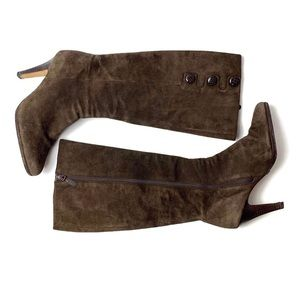 Cole Han tall brown suede high heel button boots